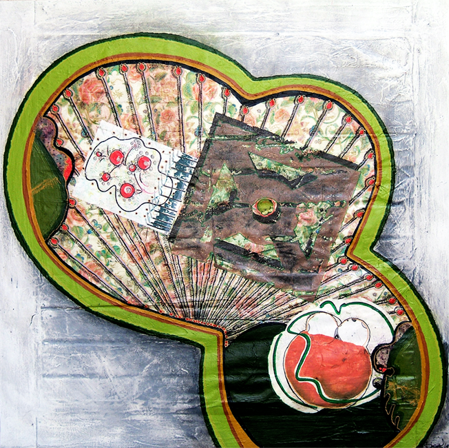 Apple  acrylic, ink, paper on wood 2 0 0 6 36 in x 36 in - sold -