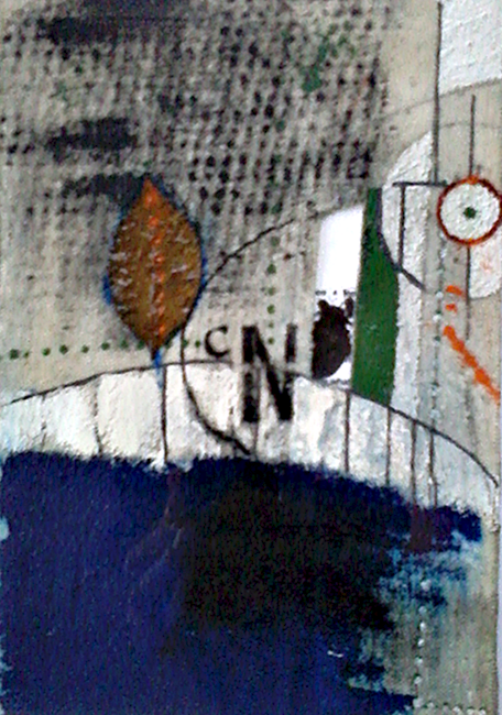 cNi  (2001) acrylic, ink, graphite, leaf, a poem on canvas 3 in x 5 in •sold