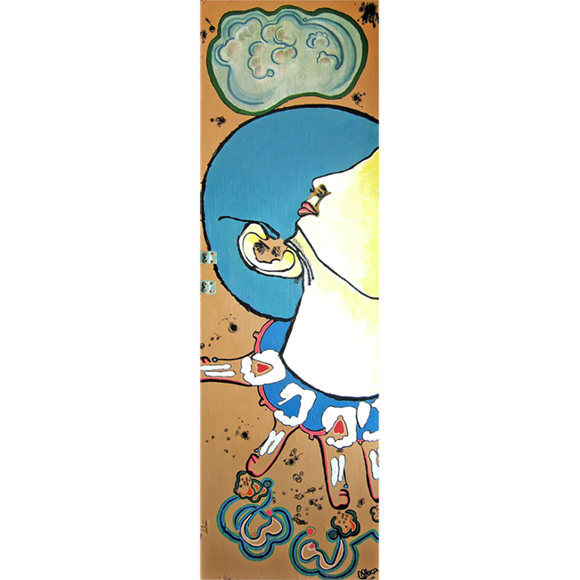 iD'US (2008) acrylic, ink, steel on wood 24 in x 48 in •sold