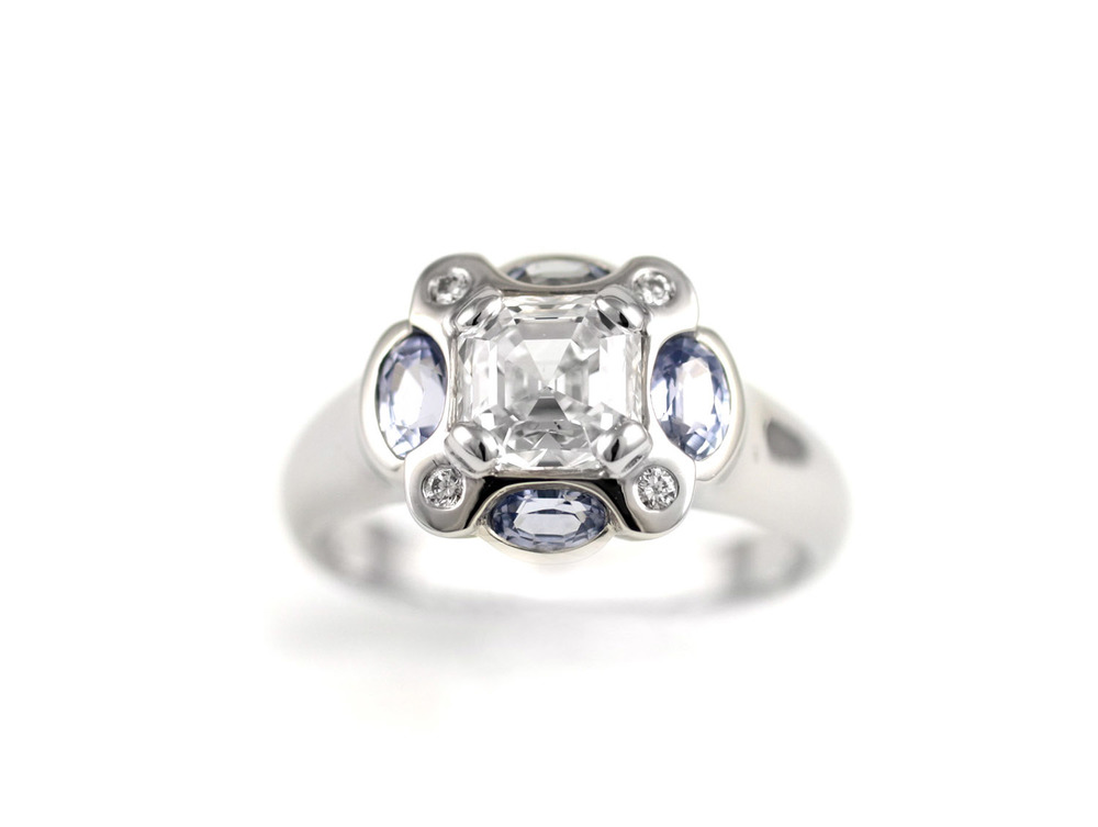 Diamond and Sapphire Bezel Ring