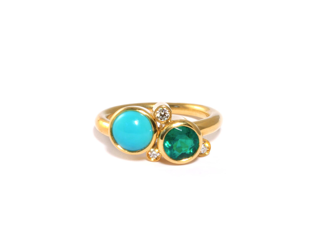 Turquoise and Emerald Ring