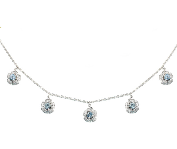18kt White Gold, Aqua and Diamond Flower Necklace - Made to Order
