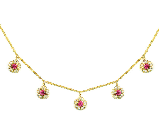 18kt Gold, Pink Tourmaline and Diamond Flower Necklace - In Stock