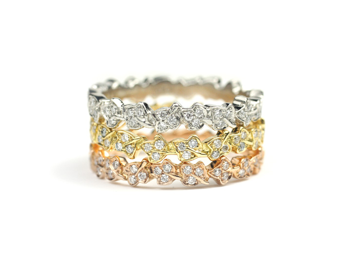 Various 18 Kt Gold and Diamond Leaf Bands Made to Order