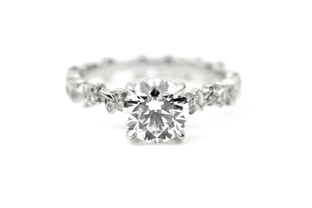 Platinum and Diamond Solitaire Leaf Ring - Made to Order