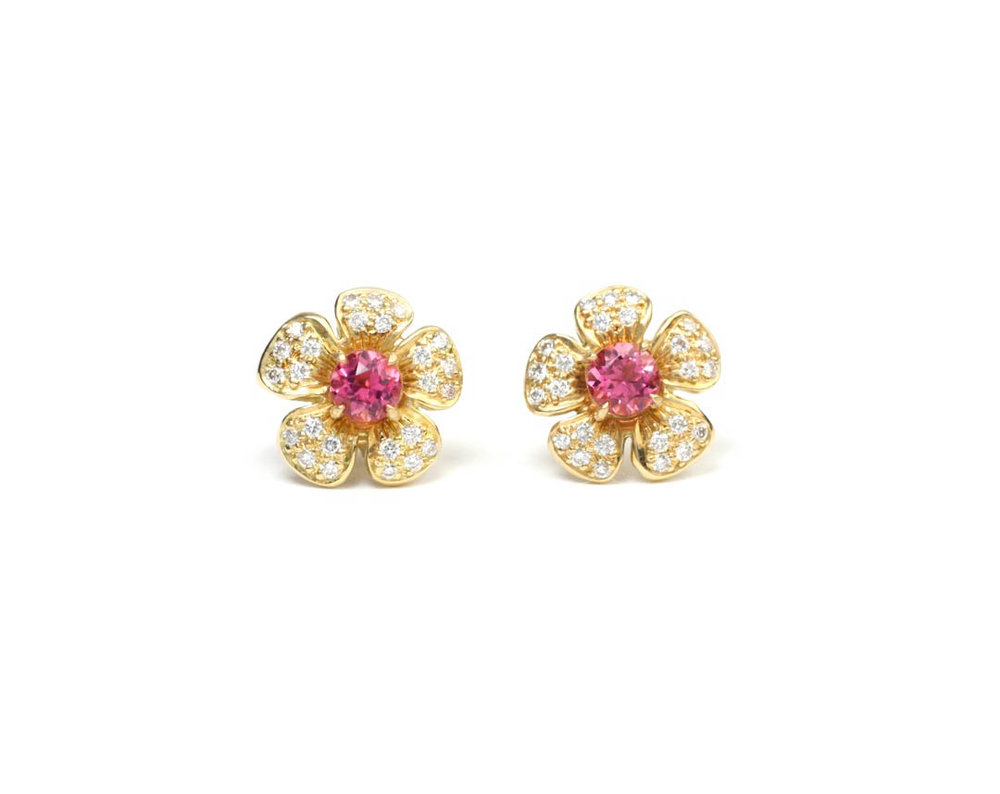 18kt Gold, Pink Tourmaline and Diamond Flower Earrings (Medium) - Made to Order