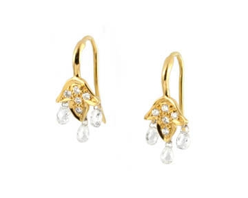 18 Kt Gold and Diamond Briolette Leaf Drop Earrings Made to Order