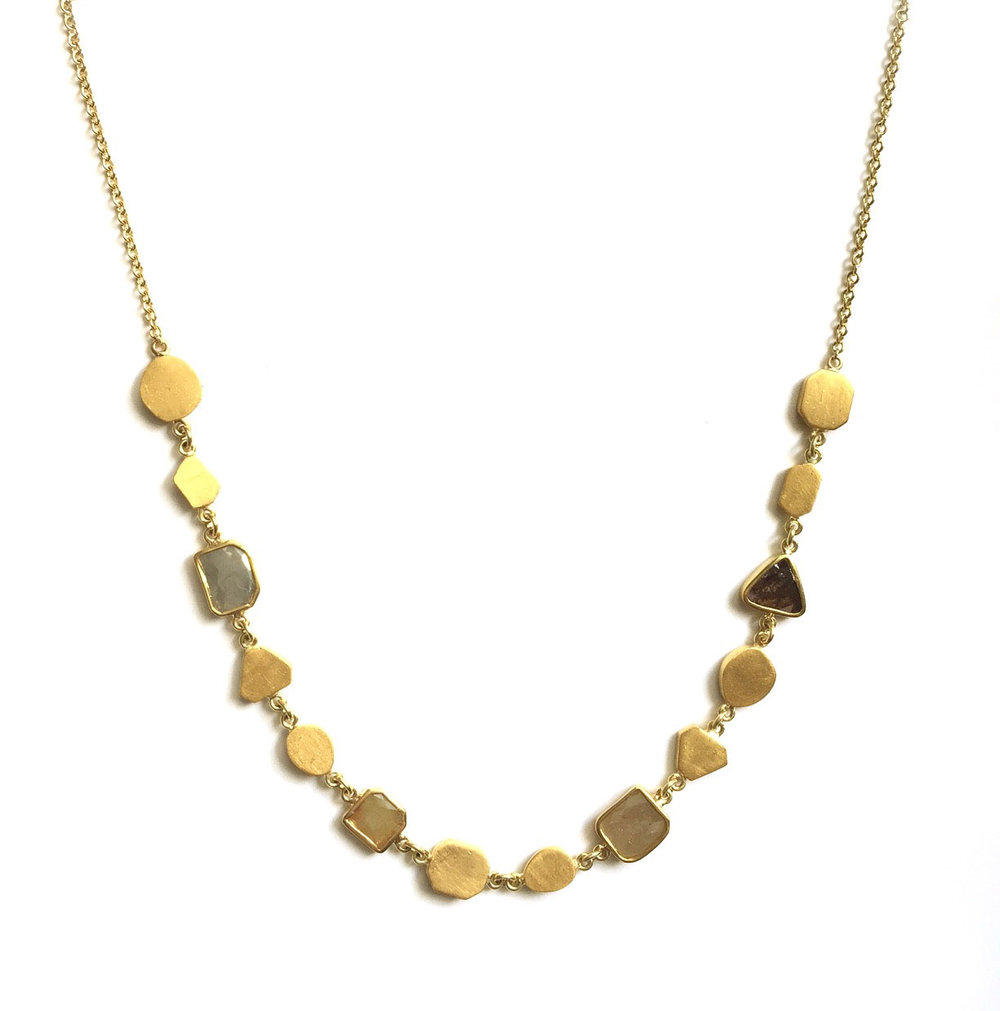 24kt Gold and Natural Diamond Slice Geometric Necklace - In Stock
