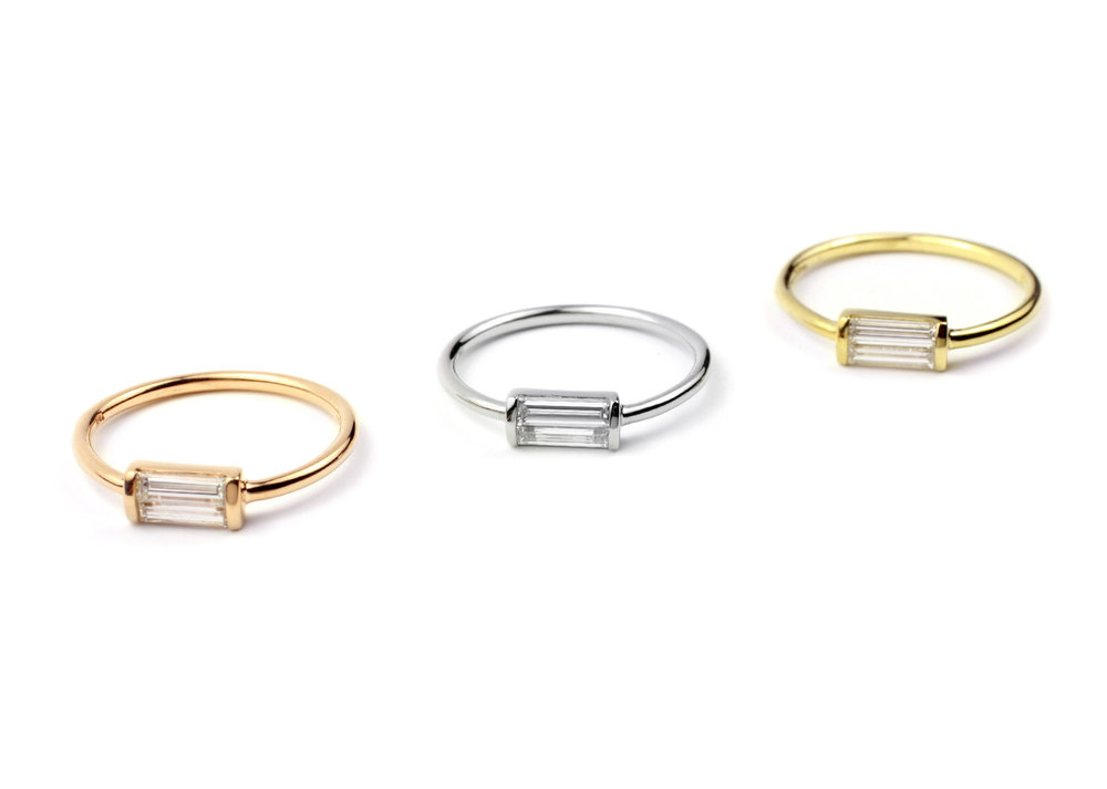 Various 18 Kt Gold and Diamond Baguette Rings Made to Order