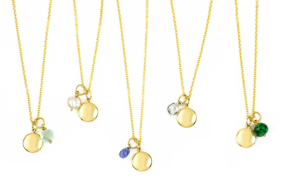 18kt Gold Disc and Various Gemstone Charms - Call for Individual Pricing
