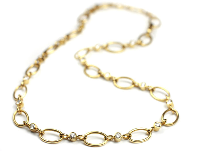 18 Kt Gold and Diamond Link Chain Necklace Made to Order