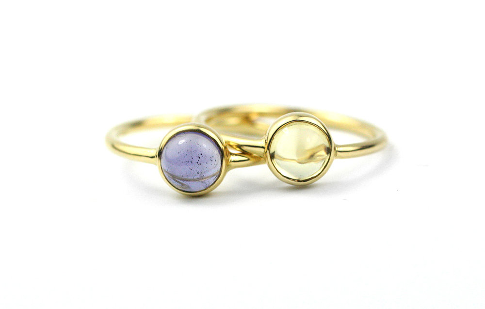 18 Kt Gold and Cabochon Gem Rings Made to Order
