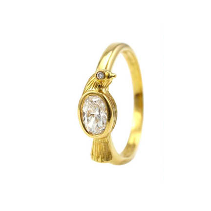 Diamond Bird Ring - April