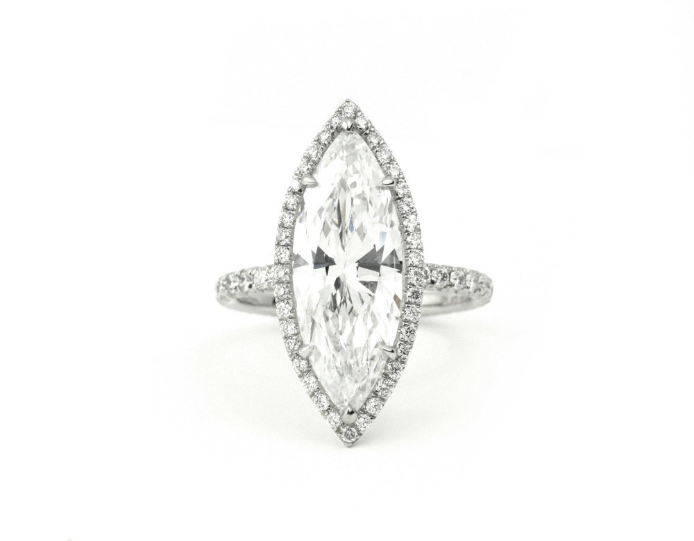 Platinum and Marquis Diamond RingGIA Certified Marquis Diamond 4.20 Cts. - Made to Order