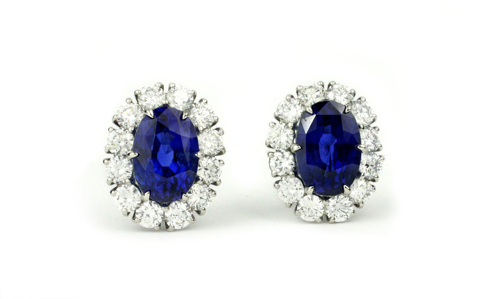 Natural Burmese Sapphire and Diamond EarringsGIA Certified Natural Sapphires 10.18 Cts. Pair - In Stock
