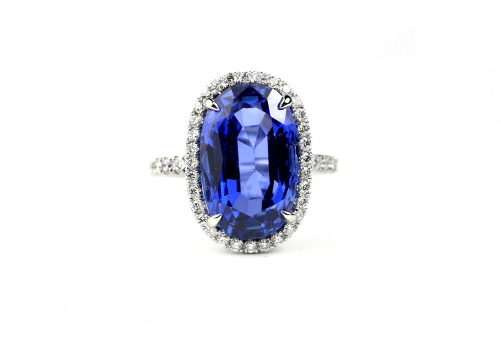 Platinum, Natural Sapphire and Diamond RingGIA Certified Natural Sapphire 9.84 Cts. - Made to Order
