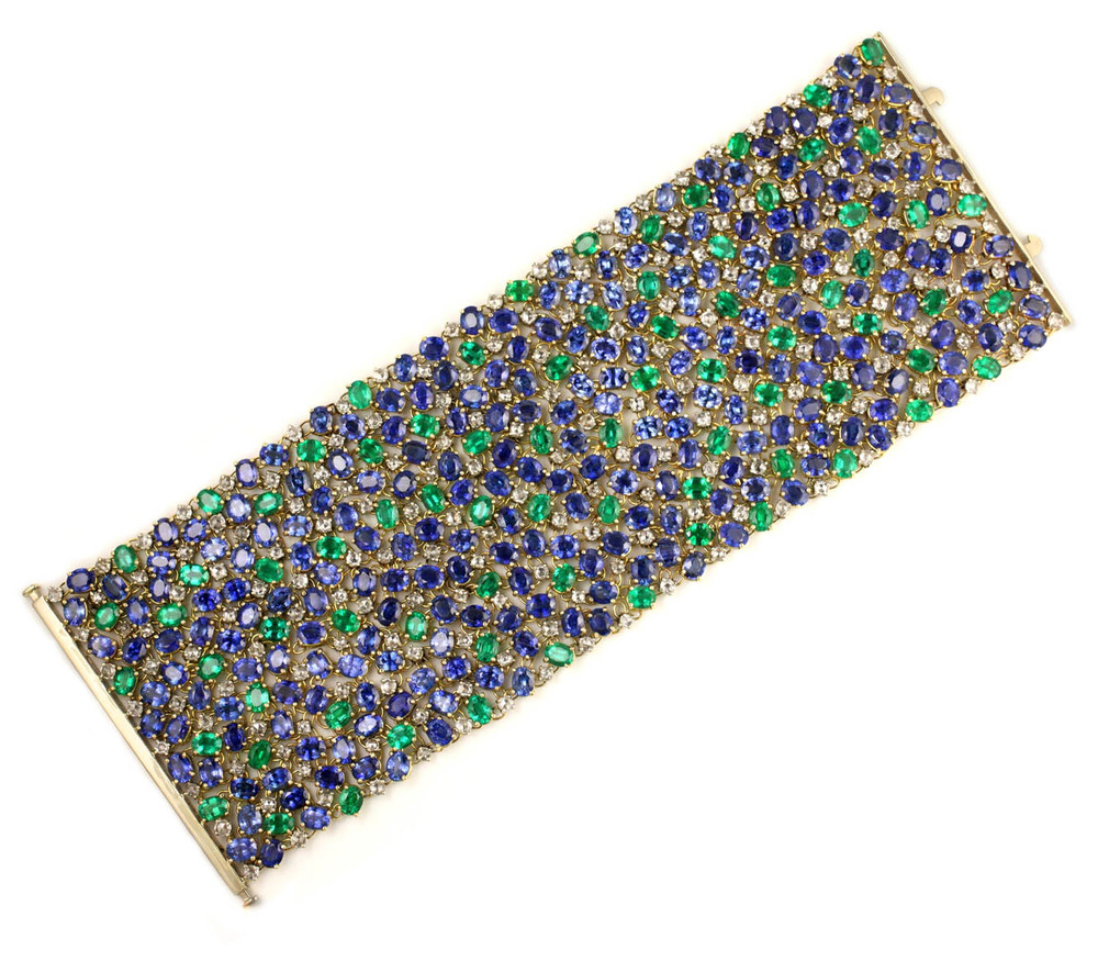 Sapphire, Emerald and Diamond Peacock Tapestry Bracelet - In Stock