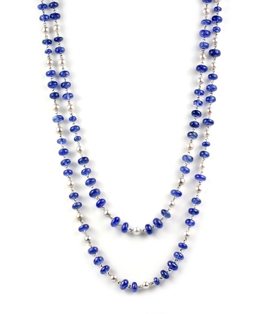 Platinum, Sapphire and Pearl Long Jeweled Necklace - In Stock