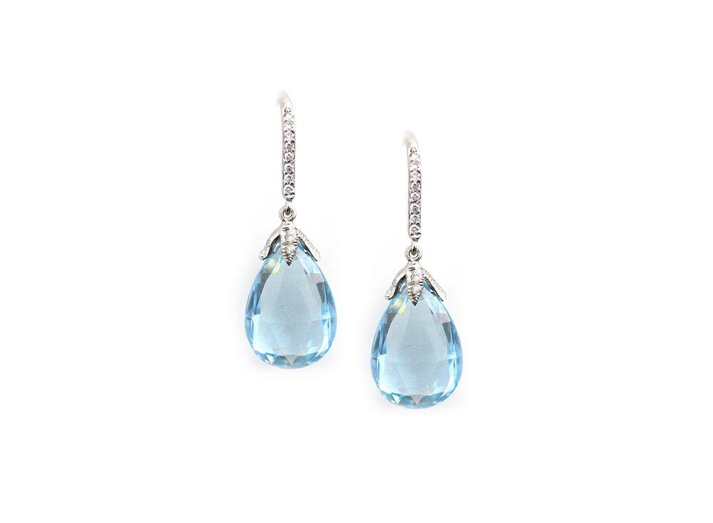 Platinum, Diamond and Aqua Briolette Earrings - In Stock