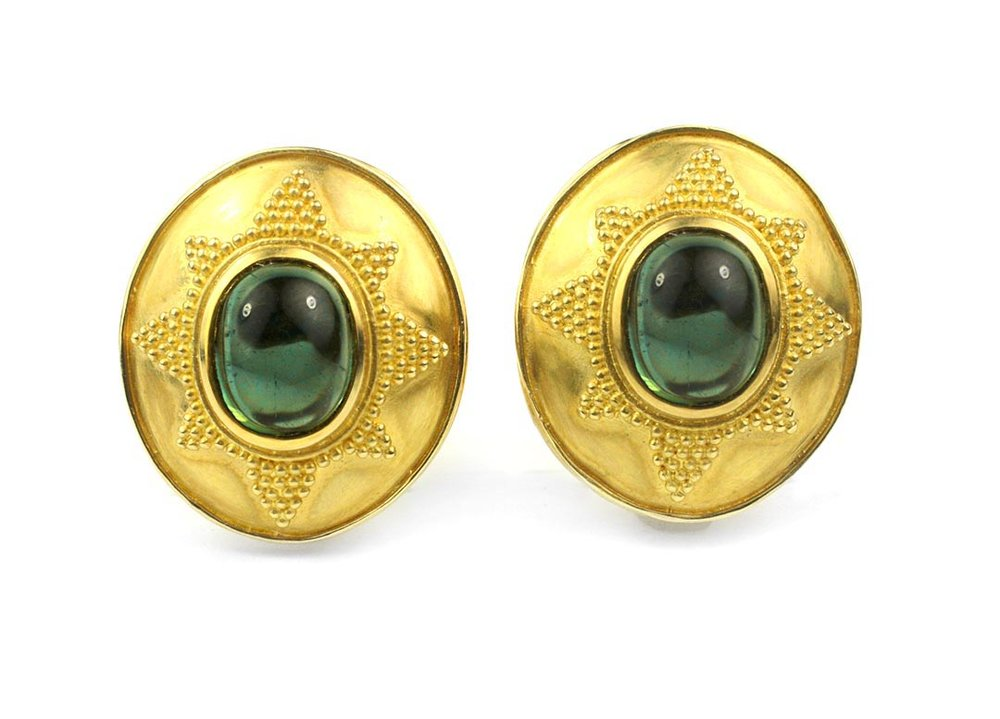 22kt Gold and Green Tourmaline Earrings - In Stock