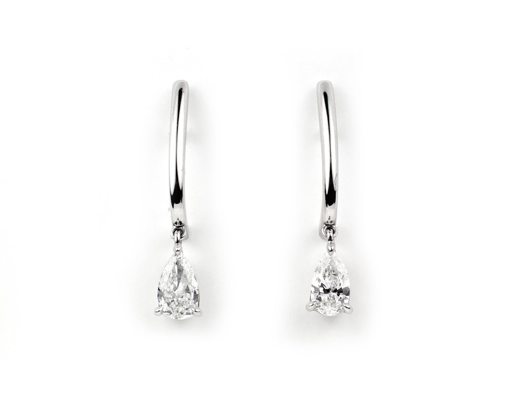 Platinum and Pear Shaped Diamond Earrings - In Stock