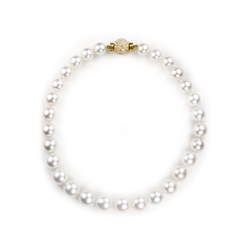 South Sea Pearl Choker18kt Gold and Diamond Pave Clasp - In Stock