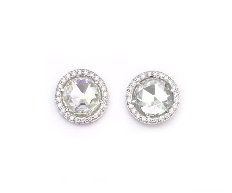 18kt White Gold and Green Beryl Rosecut Earrings - In Stock