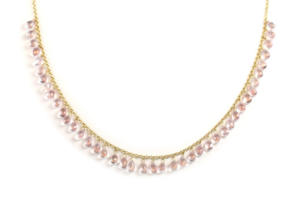 18 Kt Gold and Pink Sapphire Briolette Necklace - In Stock
