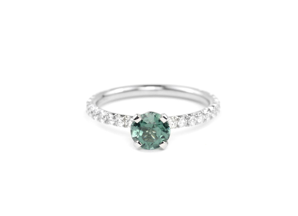 Platinum, Mint Tourmaline and Diamond Pave Ring - In Stock