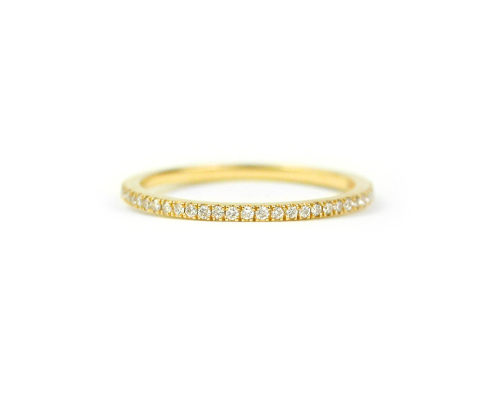 18kt Gold and Micro Pave Diamond Band - Made to Order