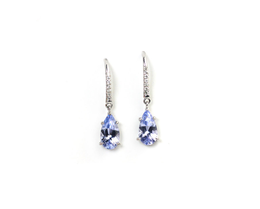 Platinum, Lavender Spinel and Diamond Earrings - In Stock