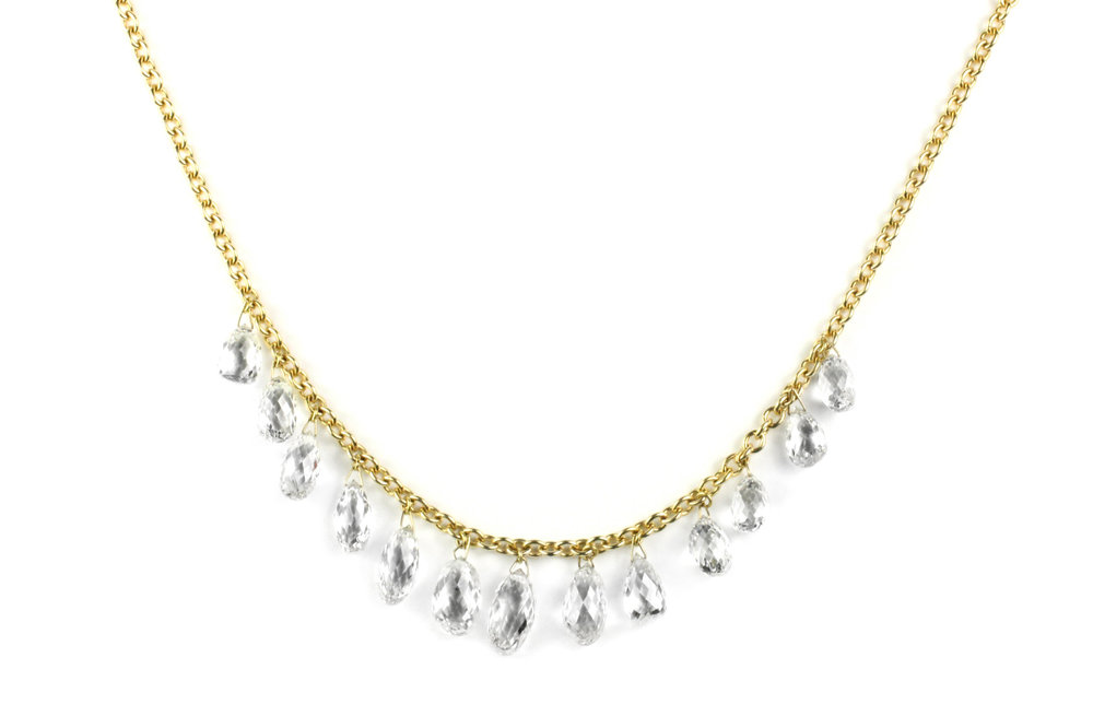 18kt Gold and Diamond Briolette Necklace - In Stock