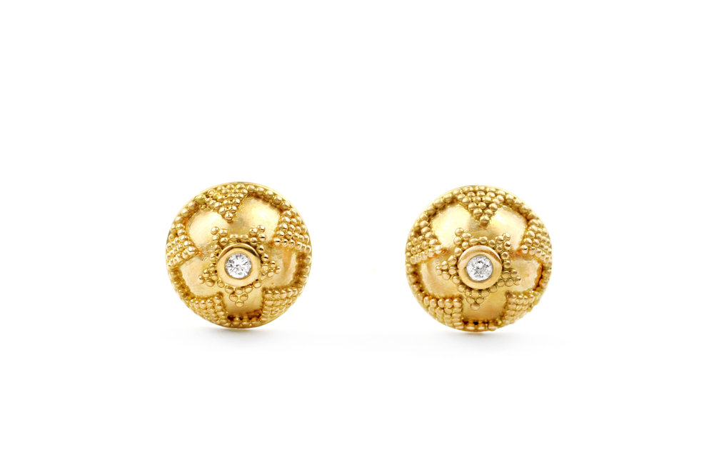 22kt Granulated Gold and Diamond Earrings - In Stock