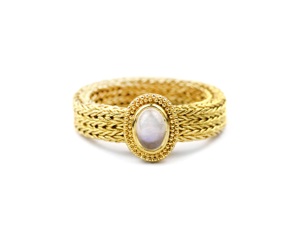 22kt Woven Gold and Moonstone Ring - In Stock