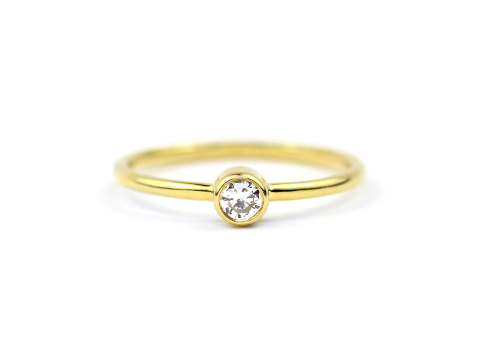 18kt Gold and Round Diamond Stacker Ring - In Stock