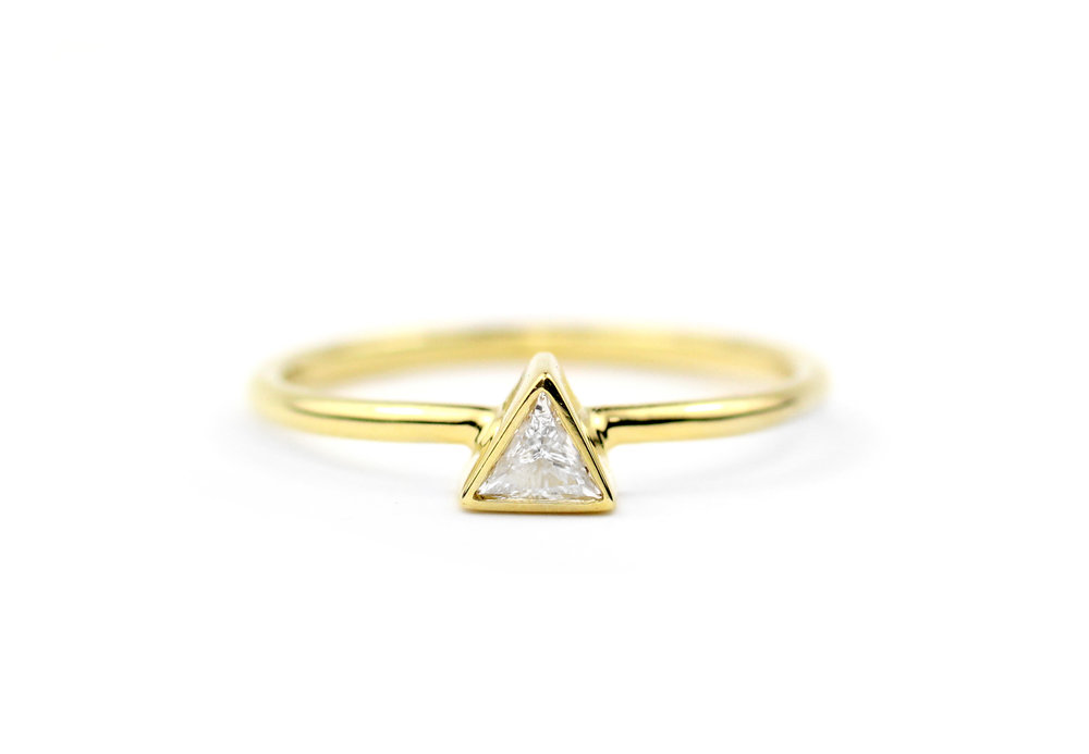 18kt Gold and Triangle Diamond Stacker Ring - In Stock