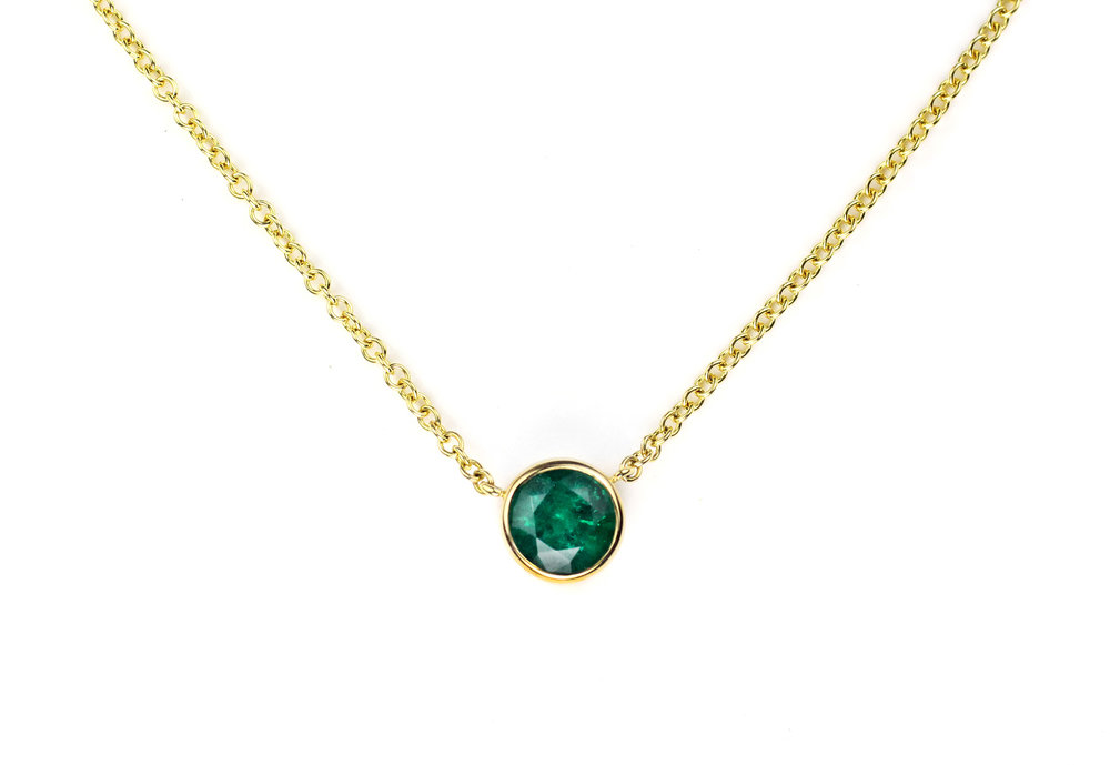 18 Kt Gold and Bezel Set Emerald Necklace Purchase on 1st Dibs