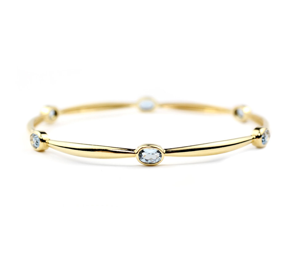 18kt Gold and aqua Bangle - In Stock