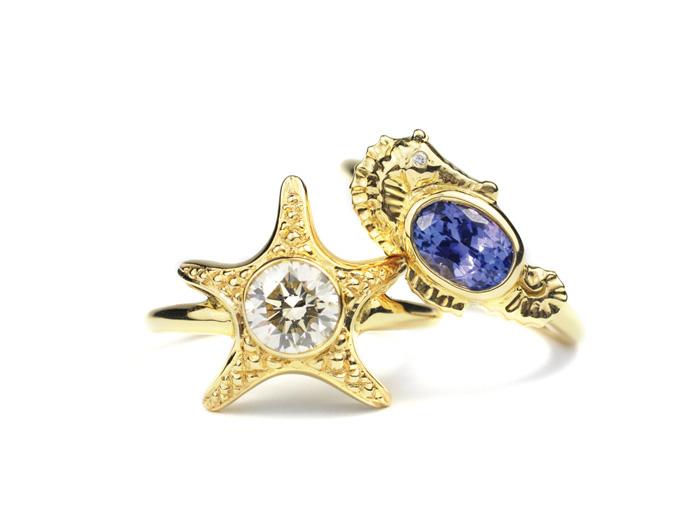 Diamond Starfish Ring and Tanzanite Seahorse Ring  Made to Order