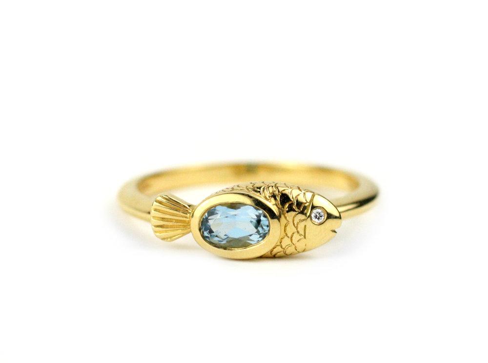 Aqua Fish Ring  In Stock