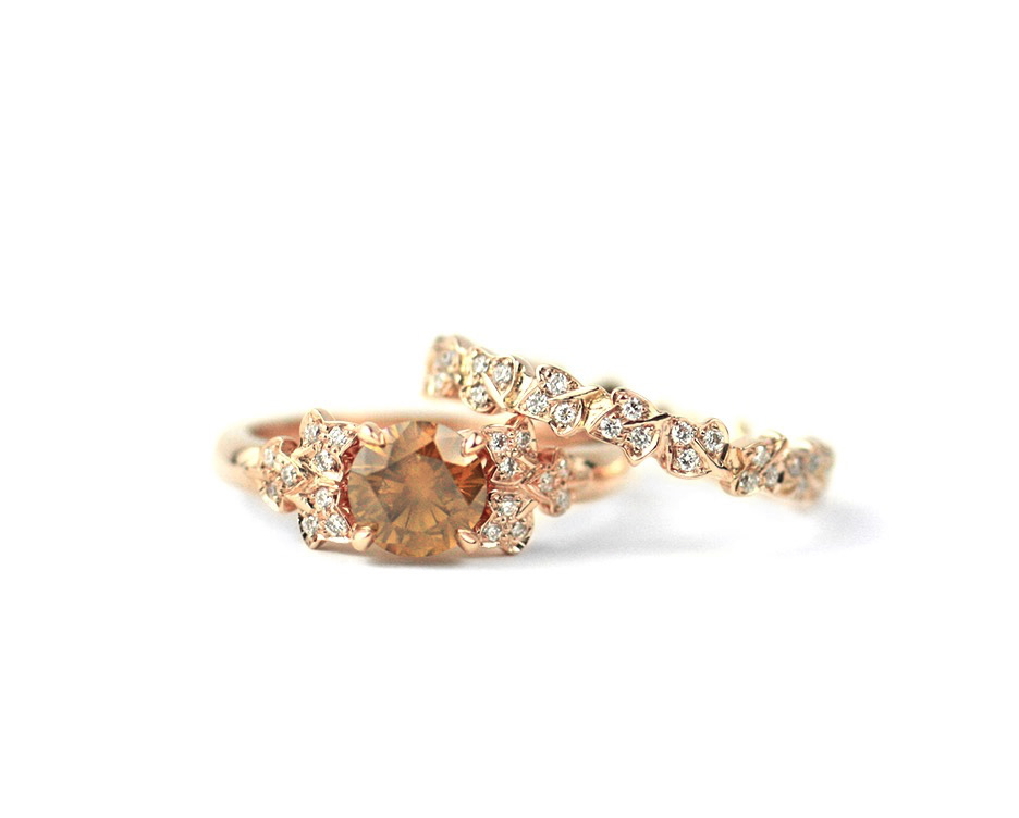 18 Kt Rose Gold and Diamond Wedding Suite Made to Order