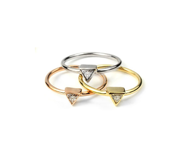 Various 18kt Gold and Triangle Diamond Stacker Rings - Made To Order