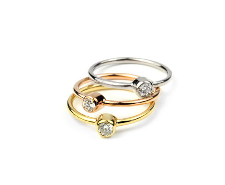 Various 18kt Gold and Round Diamond Stacker Rings - Made To Order