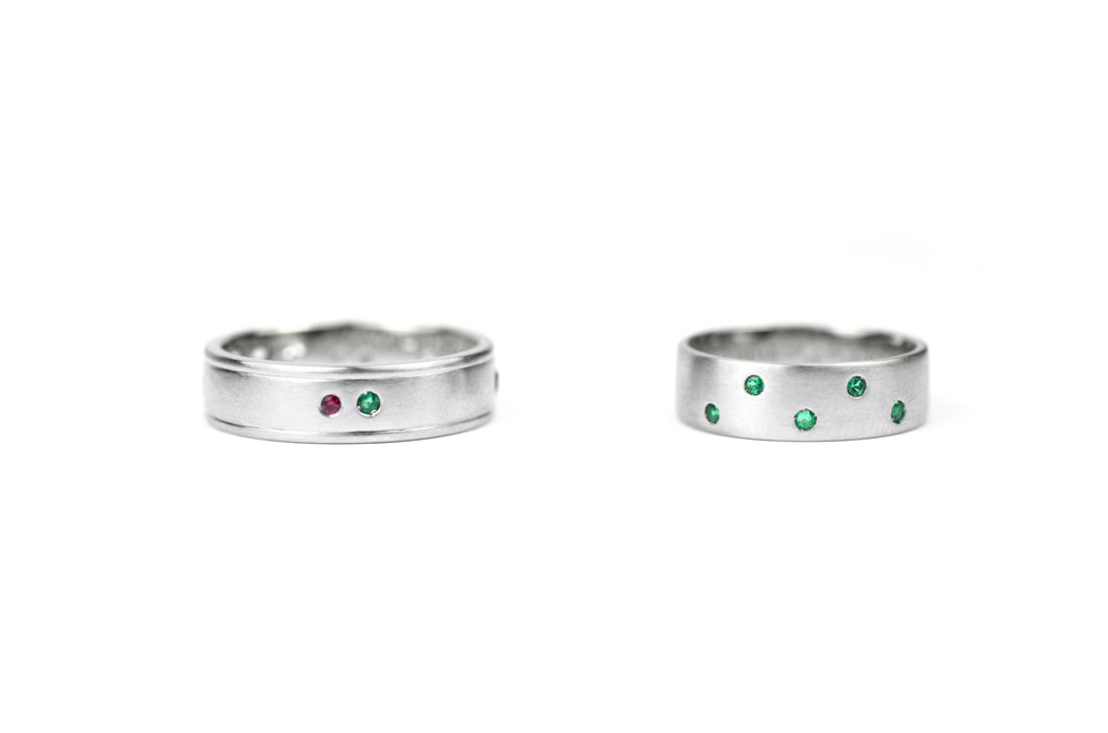 Platinum and Emerald Bands