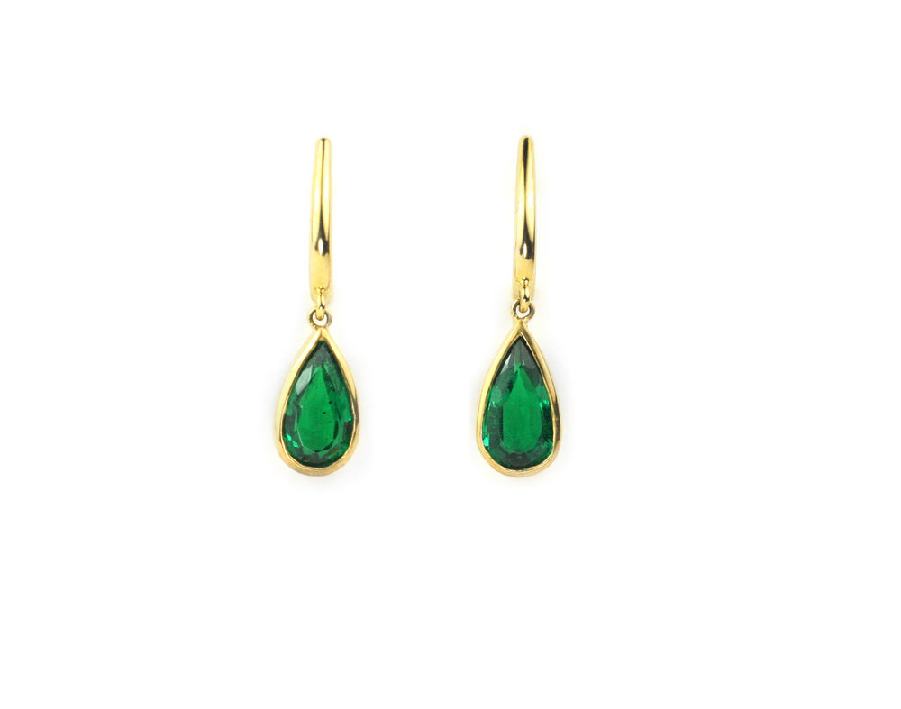 18kt Gold and Emerald Drop Earrings - In Stock
