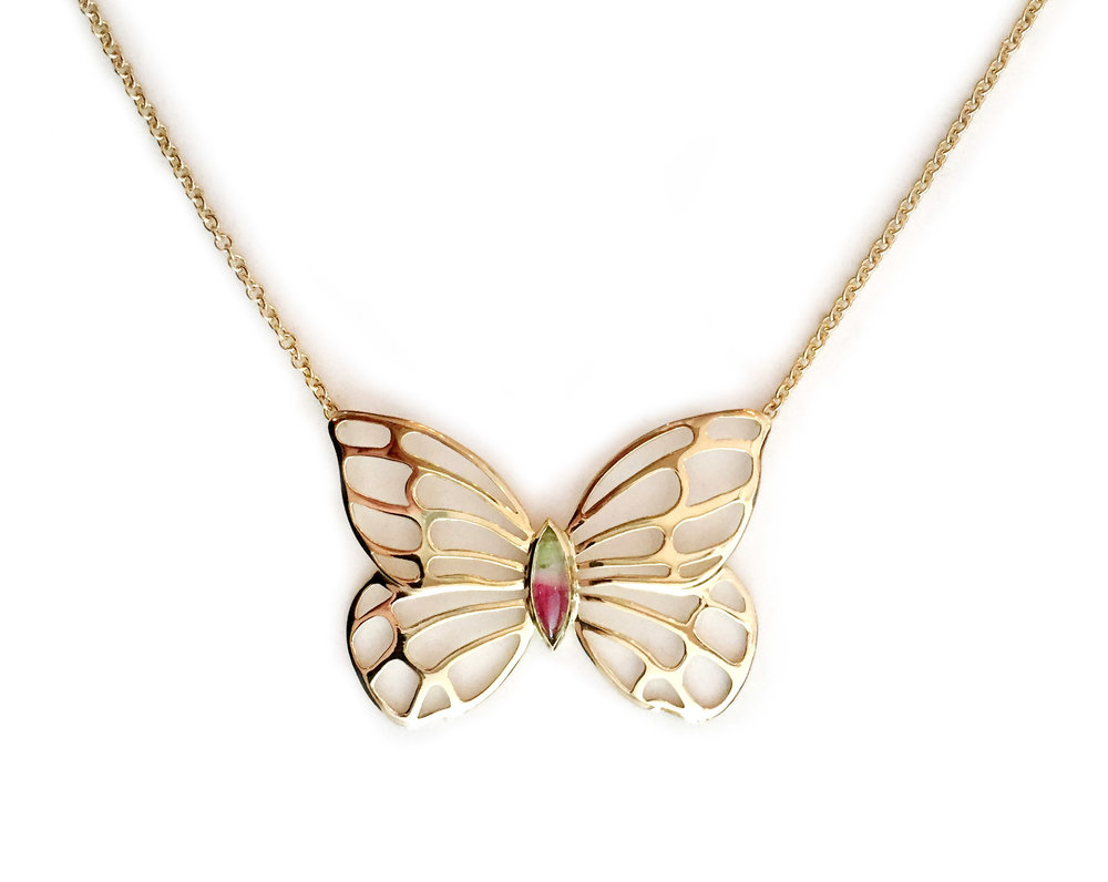 18kt Gold and Watermelon Tourmaline Butterfly Necklace - In Stock