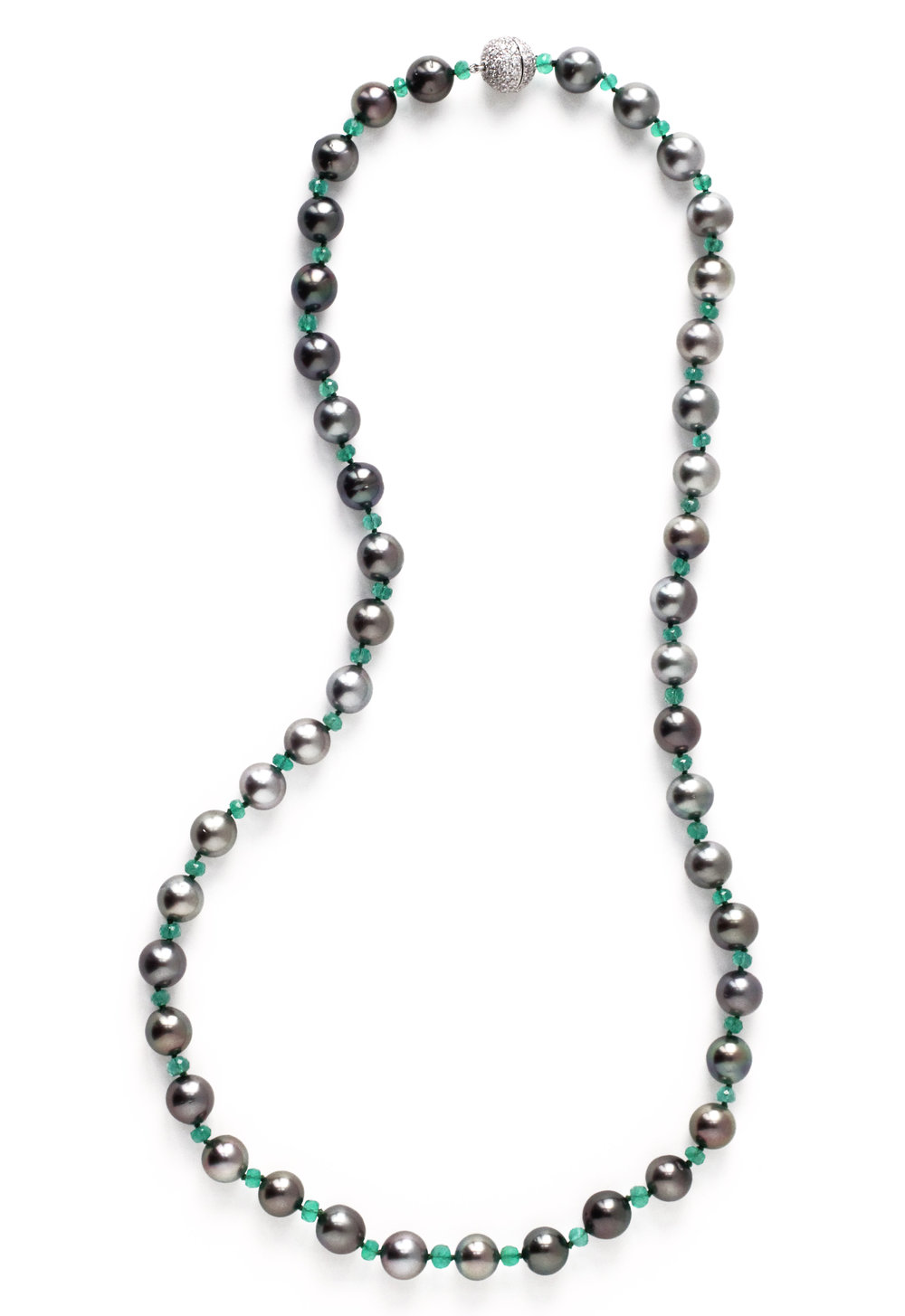 Black Pearl and Emerald Bead Necklace18kt Gold and Diamond Pave Clasp - Made to Order