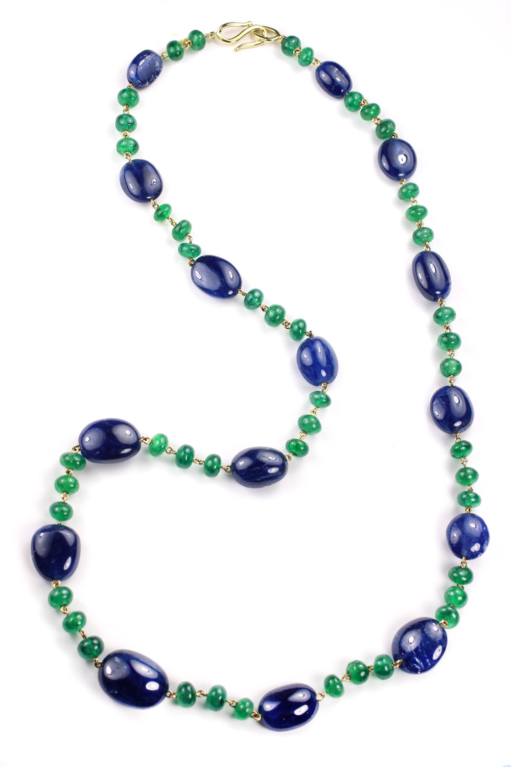 18kt Gold, Sapphire and Emerald Bead Necklace - In Stock