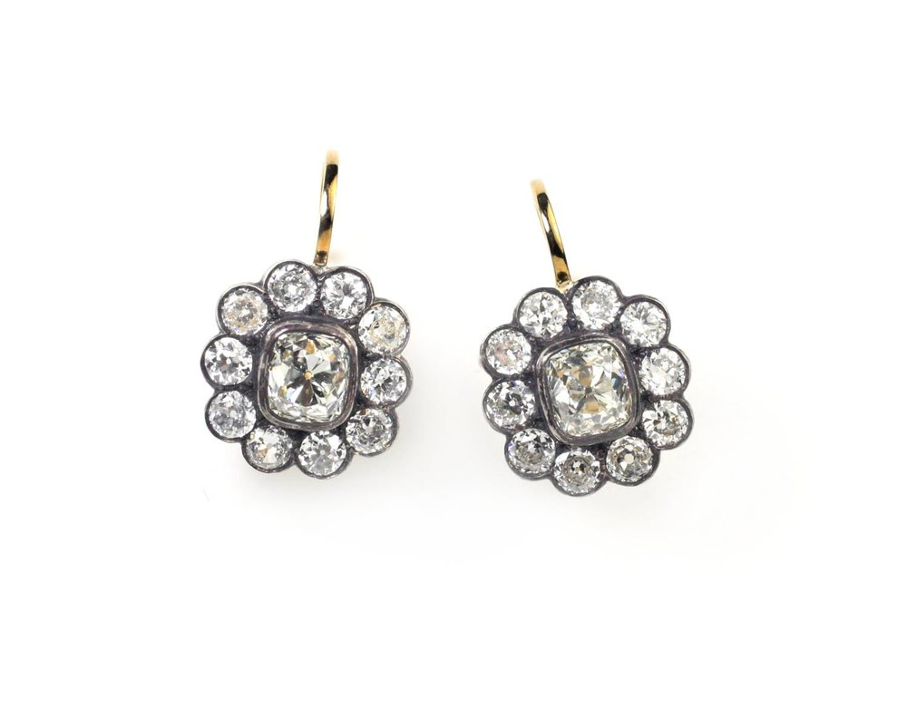 18kt Gold, Antiqued Silver and Old Mine Diamond Earrings - In Stock