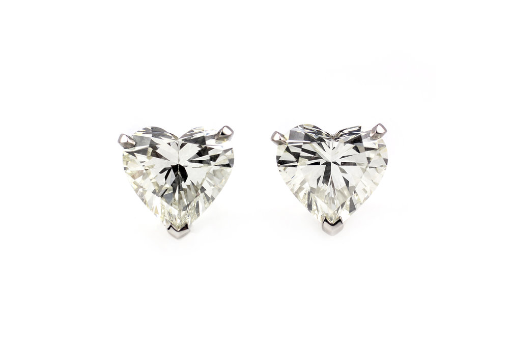 Platinum and Heart Shaped Diamond Earrings - Made to Order